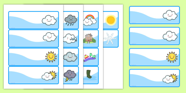 FREE! - Weather Themed Drawer Peg Name Labels - seasons