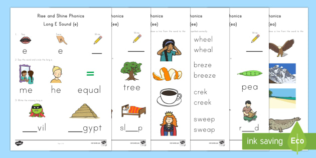 Rise and Shine Phonics Long E Sound Morning Activity Sheets - long vowels, long e, phonics, morning work, Worksheets