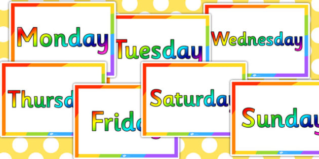 Rainbow Days of the Week - rainbow, days, week, colours, colour