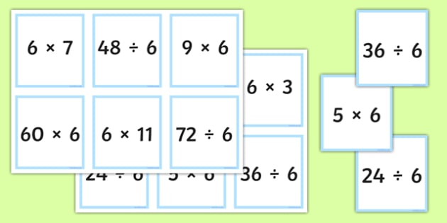 Multiplication and Division Facts for the 6 Times Table ...