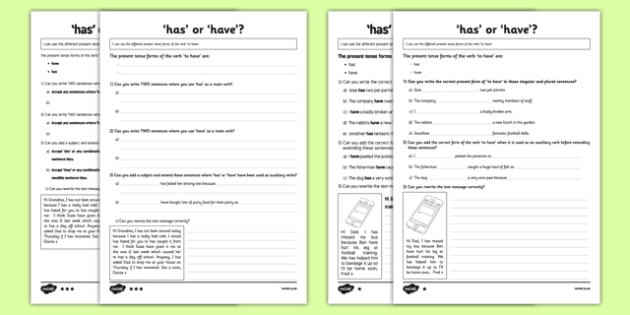 Has or Have? Differentiated Activity Sheet Pack, worksheet