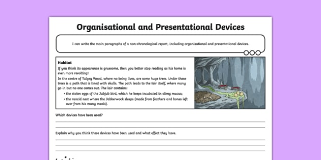 Jabberwocky: Organisational and Presentational Devices Worksheet / Activity Sheet , worksheet