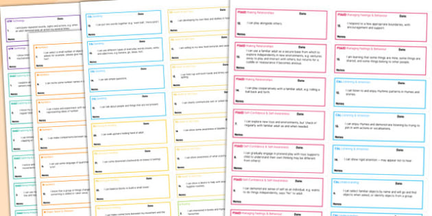 Early Years Outcomes 'I Can' Statements on Stickers Ages 16 to 26 Months