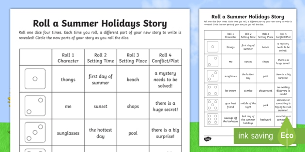 Roll a Summer Holiday Story Storyboard Template - summer, english, writing, story writing, narrative,Australia