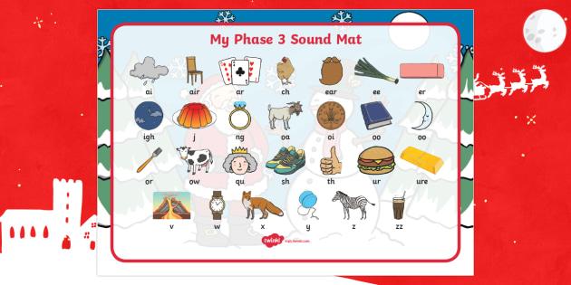 Christmas Themed Phase 3 Sound Mat - christmas, phase 3, phase three, sound mat, phase 3 sound mat, christmas themed sound mat, themed sound mat
