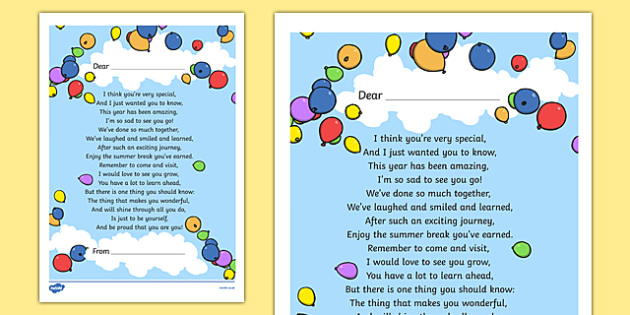 End of Year Poem Printout - Primary Resources