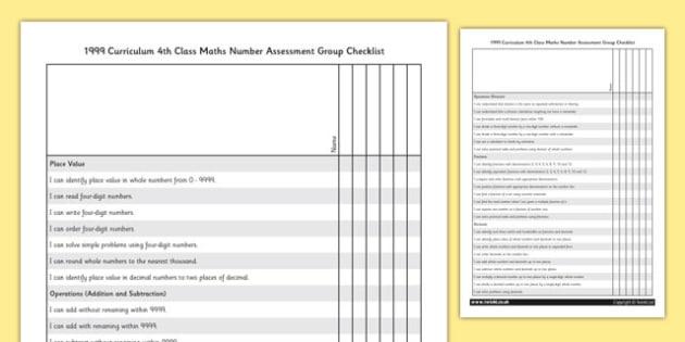 1999 Curriculum 4th Class Maths Number Assessment Group Checklist - roi, gaeilge, maths, curriculum, 1999
