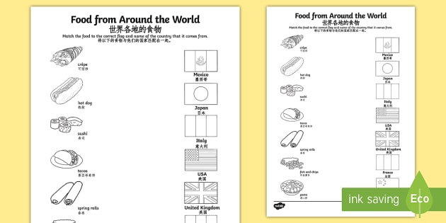 Food from around the world matching worksheet activity sheet food from around the world matching worksheet activity sheet englishmandarin chinese worksheet ibookread Download