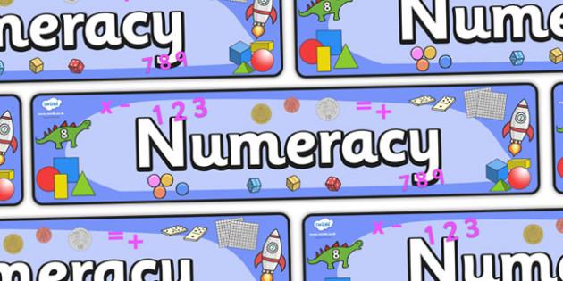 Numeracy Display Banner - numeracy, maths, display, banner, display banner, display header, themed banner, themed header, header, numbers header