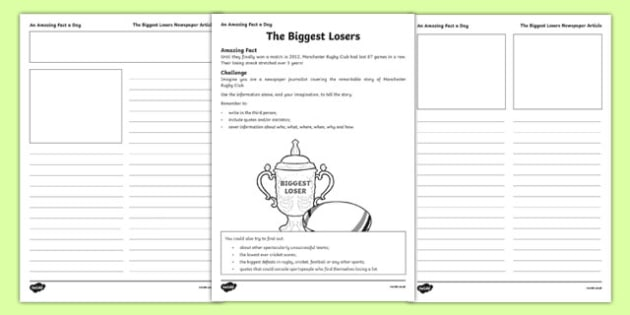 The Biggest Losers Activity Sheet, worksheet