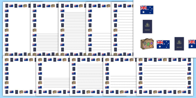 Australian Themed Page Borders - australian, page borders, page, borders, writing frame, australia, themed