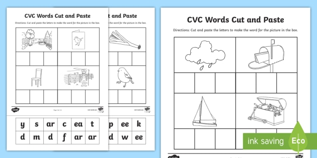 Phase 3 To 5 CVC Words Cut And Paste Activity (teacher Made)