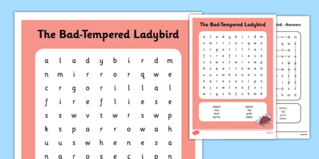 Word Search to Support Teaching on The Bad Tempered Ladybird - stories, word search