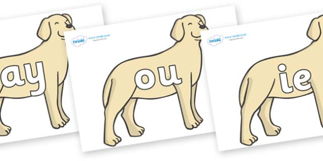 Phase 5 Phonemes on Dogs - Phonemes, phoneme, Phase 5, Phase five, Foundation, Literacy, Letters and Sounds, DfES, display