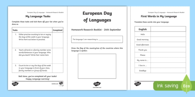 European Day of Languages Homework Activity Booklet
