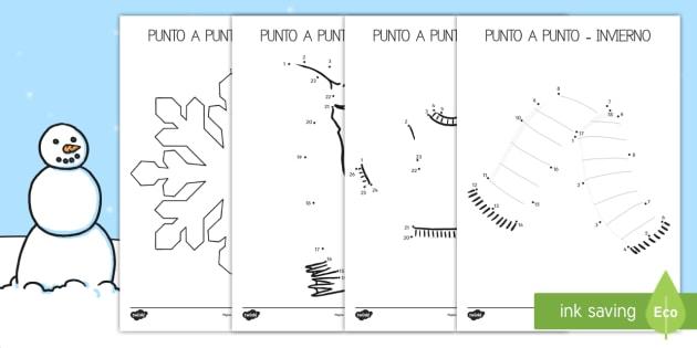 Punto a punto: El invierno - punto a punto, invierno, dibujo