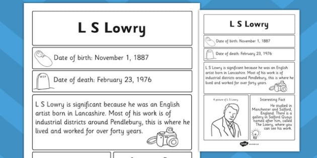 l s lowry significant individual fact sheet