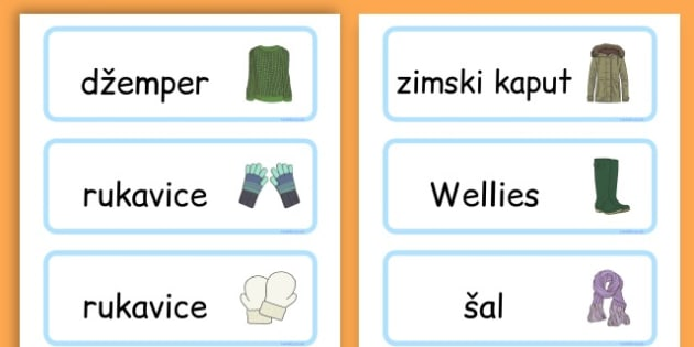 Winter Clothes Word Cards - winter clothes, word cards, winter, clothes - Croatian