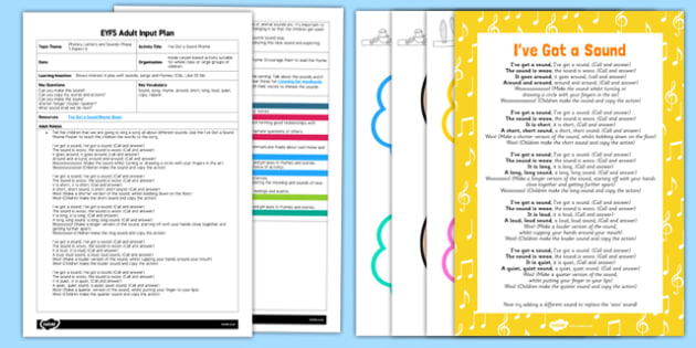 EYFS I've Got a Sound Rhyme Adult Input Plan and Resource Pack - EYFS, Early Years planning, Key Stage 1, adult led, phonics, Letters and Sounds, voice sounds, Phase 1, Aspect 6