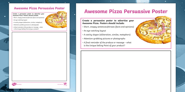 KS2 Awesome Pizza Persuasive Poster Worksheet / Worksheet