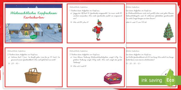 Weihnachtliches Kopfrechnen : DIN A4 Karteikarten - Weihnachten