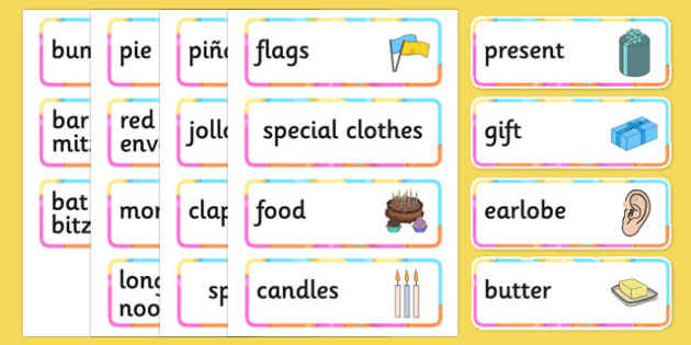 Birthdays Around the World Word Cards - birthdays, around the world, word, cards, word cards
