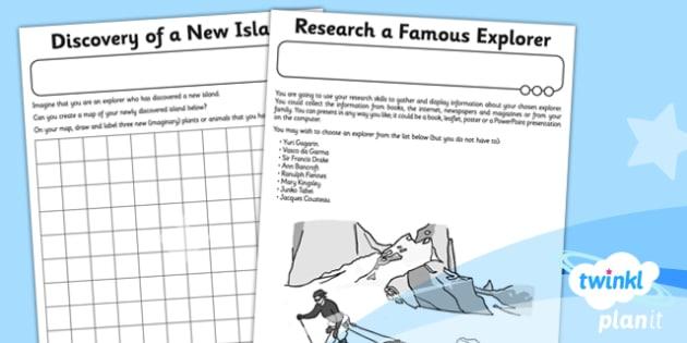 History: Great Explorers KS1 Unit Home Learning Tasks