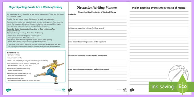Year 5 Discussion Writing: Major Sporting Events Are a  Waste of Money Activity Sheets-Australia - Literacy, australian curriculum, australia, english, literacy, text types, discussion, planner, writ