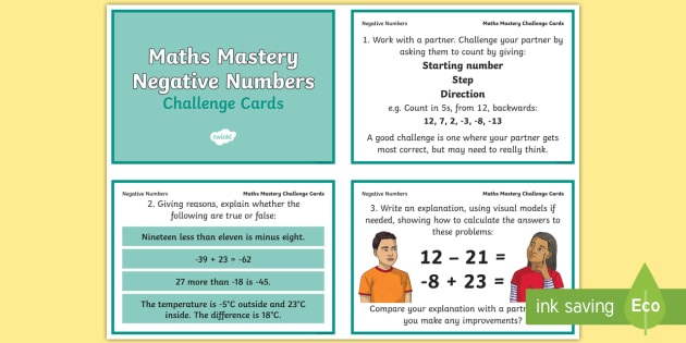 Year 6 Maths Mastery Negative Numbers Challenge Cards - integer
