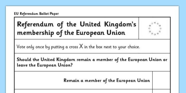 EU Referendum 2016 Ballot Papers - EU, referendum, vote, ballot, paper