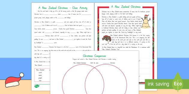 New Zealand Christmas Literacy Worksheet / Activity Sheets
