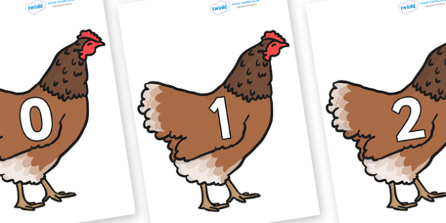 Numbers 0-31 on Hens - 0-31, foundation stage numeracy, Number recognition, Number flashcards, counting, number frieze, Display numbers, number posters