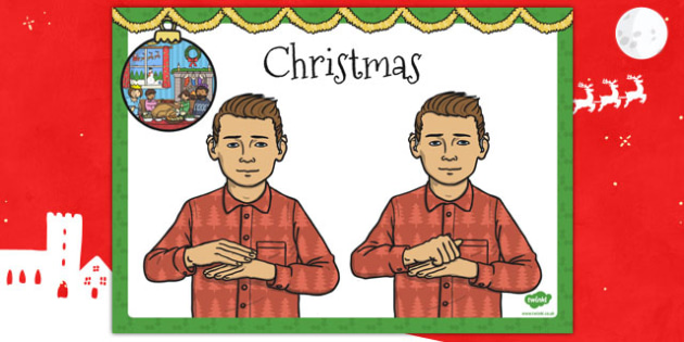 A4 British Sign Language Sign for Christmas - sign, christmas