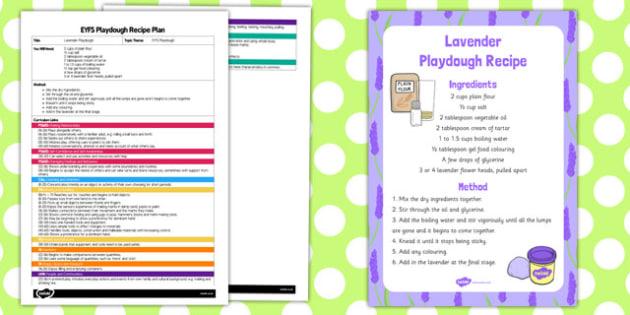 EYFS Lavender Playdough Plan and Recipe Pack - playdough, recipe