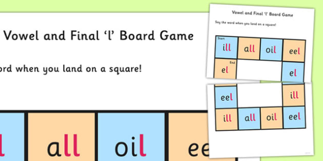 Vowel and Final 'L' Sound Board Game - l sound, final, game