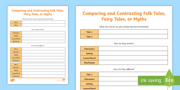 new comparing and contrasting folktales activity sheet myth fable. Black Bedroom Furniture Sets. Home Design Ideas