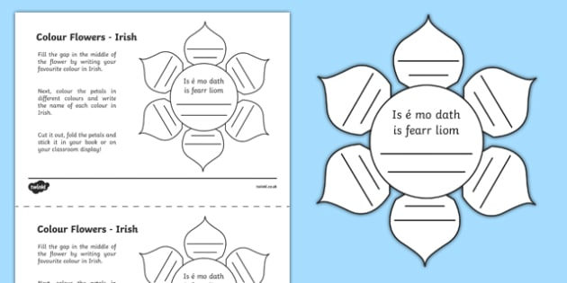 MFL Irish Colour Flowers Worksheet / Activity Sheet, worksheet