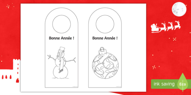 Happy New Year Door Hanger Colouring Activity Sheet French