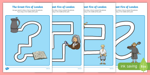 The Great Fire of London Pencil Control Path Activity Sheet Pack, worksheet