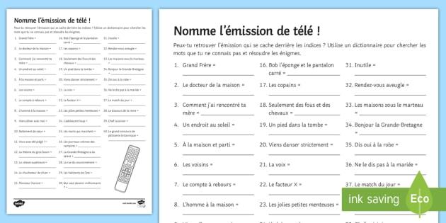 name the tv programme worksheet activity sheet french. Black Bedroom Furniture Sets. Home Design Ideas
