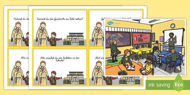Schulschauplatz Fragekarten - Schule, Klassenzimmer, Fragekarten, Quizkarten, Textverständnis, lesen, Gruppenarbeit,German