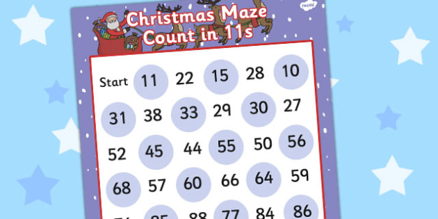 Christmas Maze Counting in 11s Activity Sheet - christmas, maze, counting, 11, worksheet