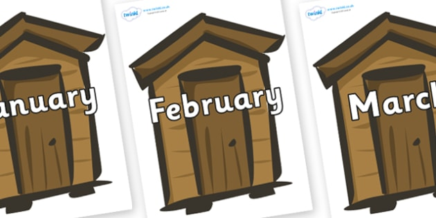 Months of the Year on Sheds - Months of the Year, Months poster, Months display, display, poster, frieze, Months, month, January, February, March, April, May, June, July, August, September