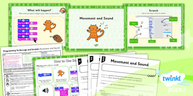 Computing: Programming Turtle Logo and Scratch: Movement and Sound Year 2 Lesson Pack 3