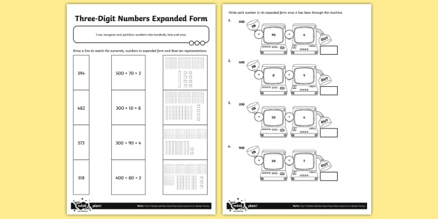 Three-Digit Numbers in Expanded Form Worksheet / Worksheet ...