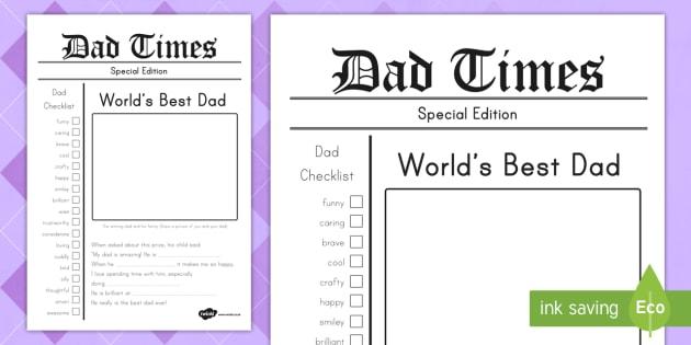 father u0026 39 s day newspaper keepsake template