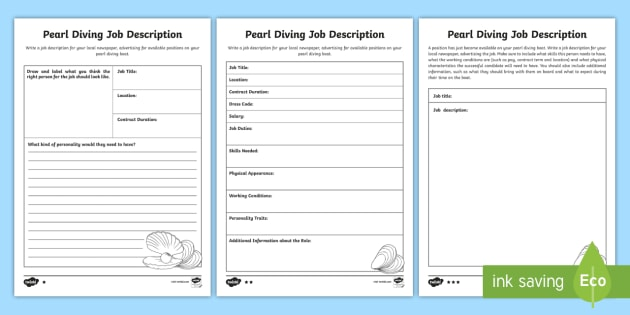 Worksheets For The Pearl : Pearl diving job advertisment worksheet activity sheet