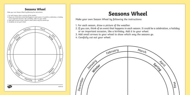 Editable Seasons Wheel Worksheet