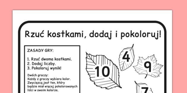 Gra Rzuć kostkami, dodaj i pokoloruj po polsku - jesienne