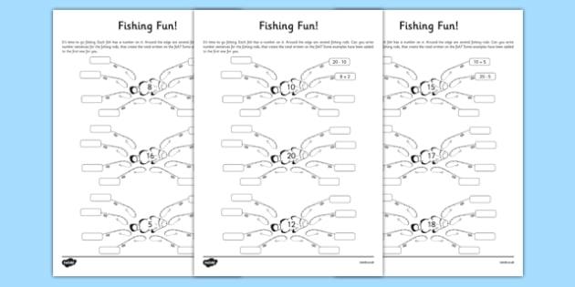 Fishing Fun Number Bonds to 20 Activity Sheet, worksheet